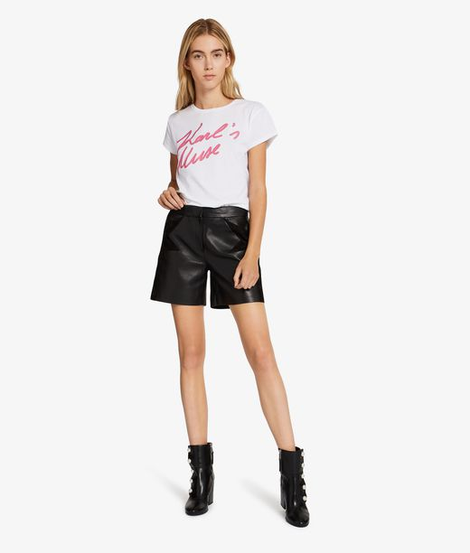 KARL LAGERFELD Leather & Suede Shorts 12_f