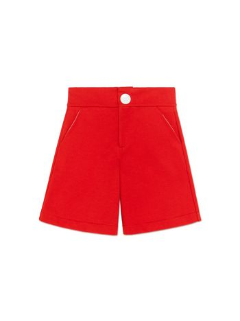 Marni RED FLEECE SHORTS WITH BUTTON DETAIL Woman