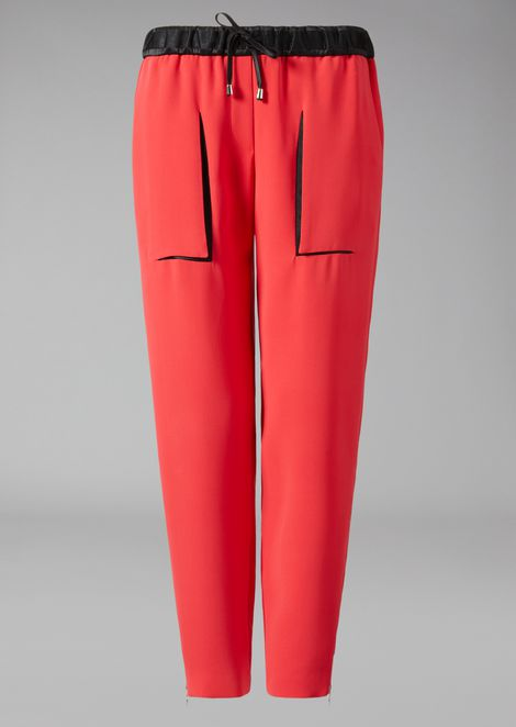 Crepe trousers with drawstring