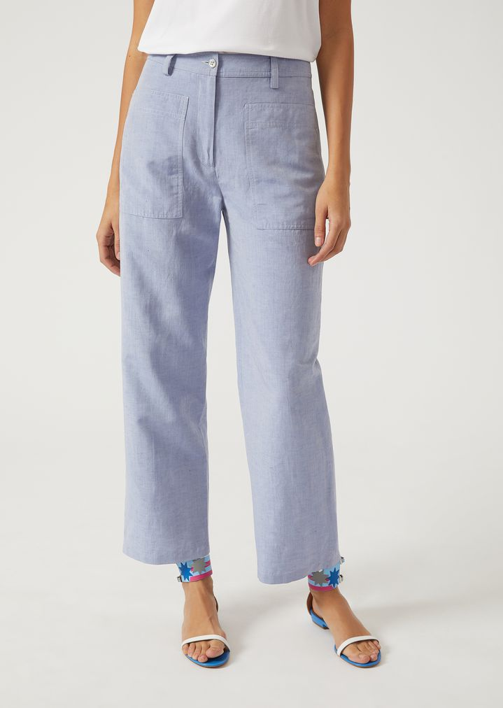 7da18f9217c Oversize trousers in linen and silk