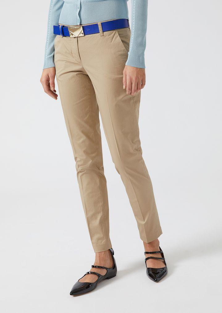 968f1cbc7d Cotton cigarette trousers   Woman   Emporio Armani