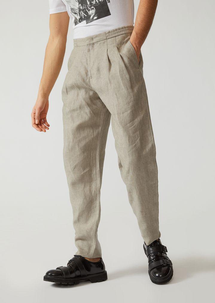 new product 45388 cffe3 Pantaloni in lino chambray | Uomo | Emporio Armani