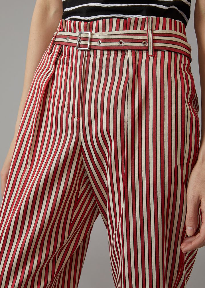 GIORGIO ARMANI Striped Canvas Trousers Pants Woman a