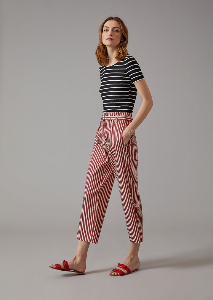 GIORGIO ARMANI Striped Canvas Trousers Pants Woman d