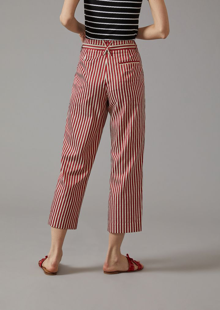 GIORGIO ARMANI Striped Canvas Trousers Pants Woman e