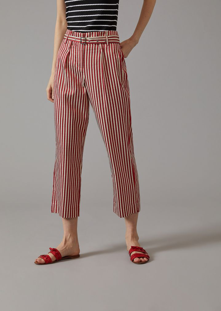 GIORGIO ARMANI Striped Canvas Trousers Pants Woman f
