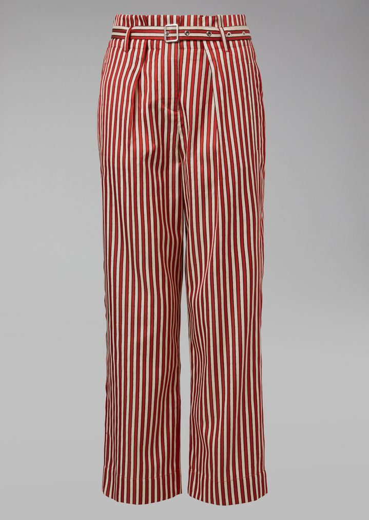 GIORGIO ARMANI Striped Canvas Trousers Pants Woman r
