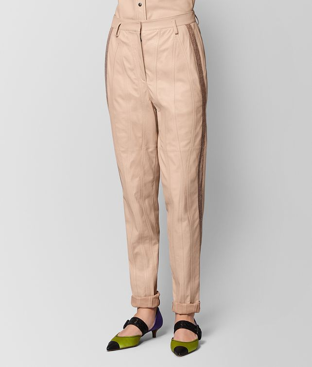 BOTTEGA VENETA PANTALONE IN AGNELLO PEACH ROSE Gonne e Pantaloni [*** pickupInStoreShipping_info ***] fp