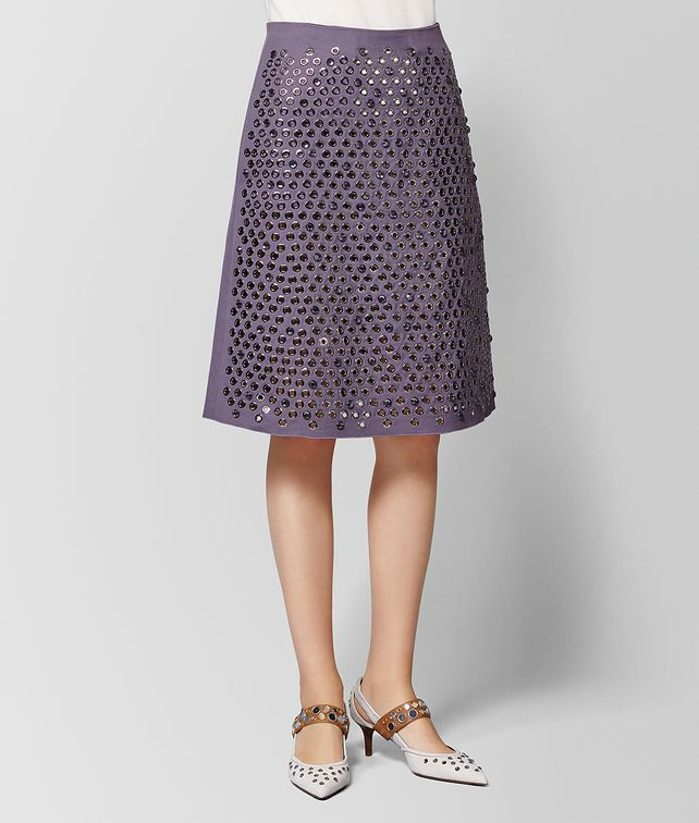 BOTTEGA VENETA GONNA IN COTONE DARK LILAC Gonne e Pantaloni Donna fp