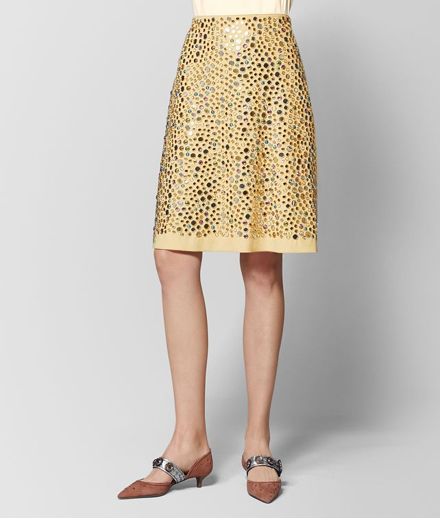 BOTTEGA VENETA LIGHT BUTTERSCOTCH ALCANTARA SKIRT Skirt or trouser [*** pickupInStoreShipping_info ***] fp