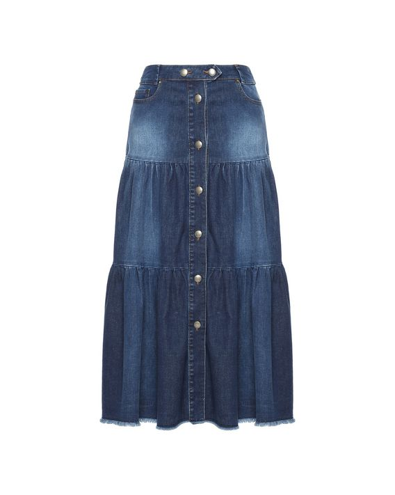89412f2d99 REDValentino Flounced denim skirt; REDValentino Flounced denim skirt ...