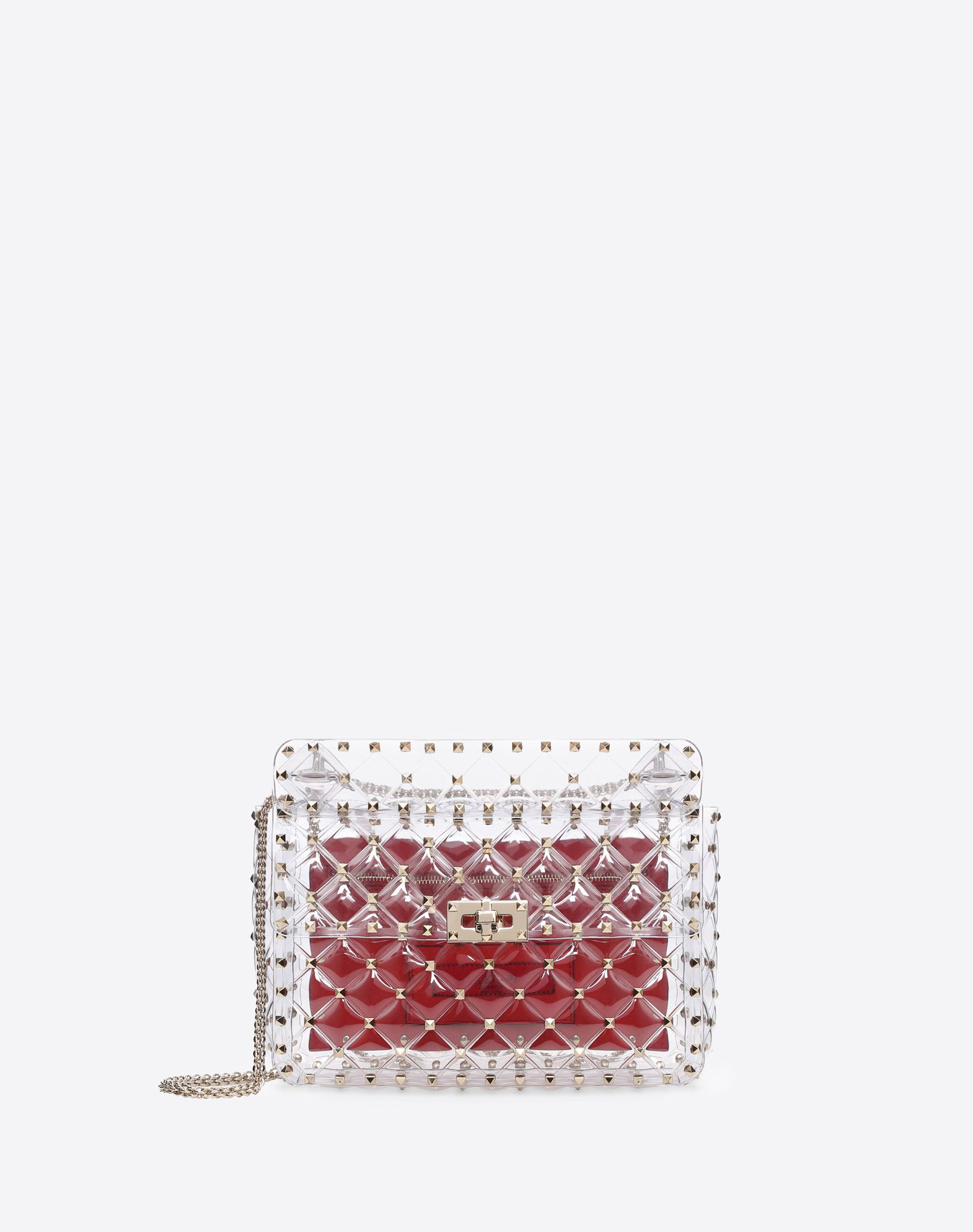VALENTINO Studded Logo Framed closure Internal zip pocket Removable shoulder strap  13162616qu