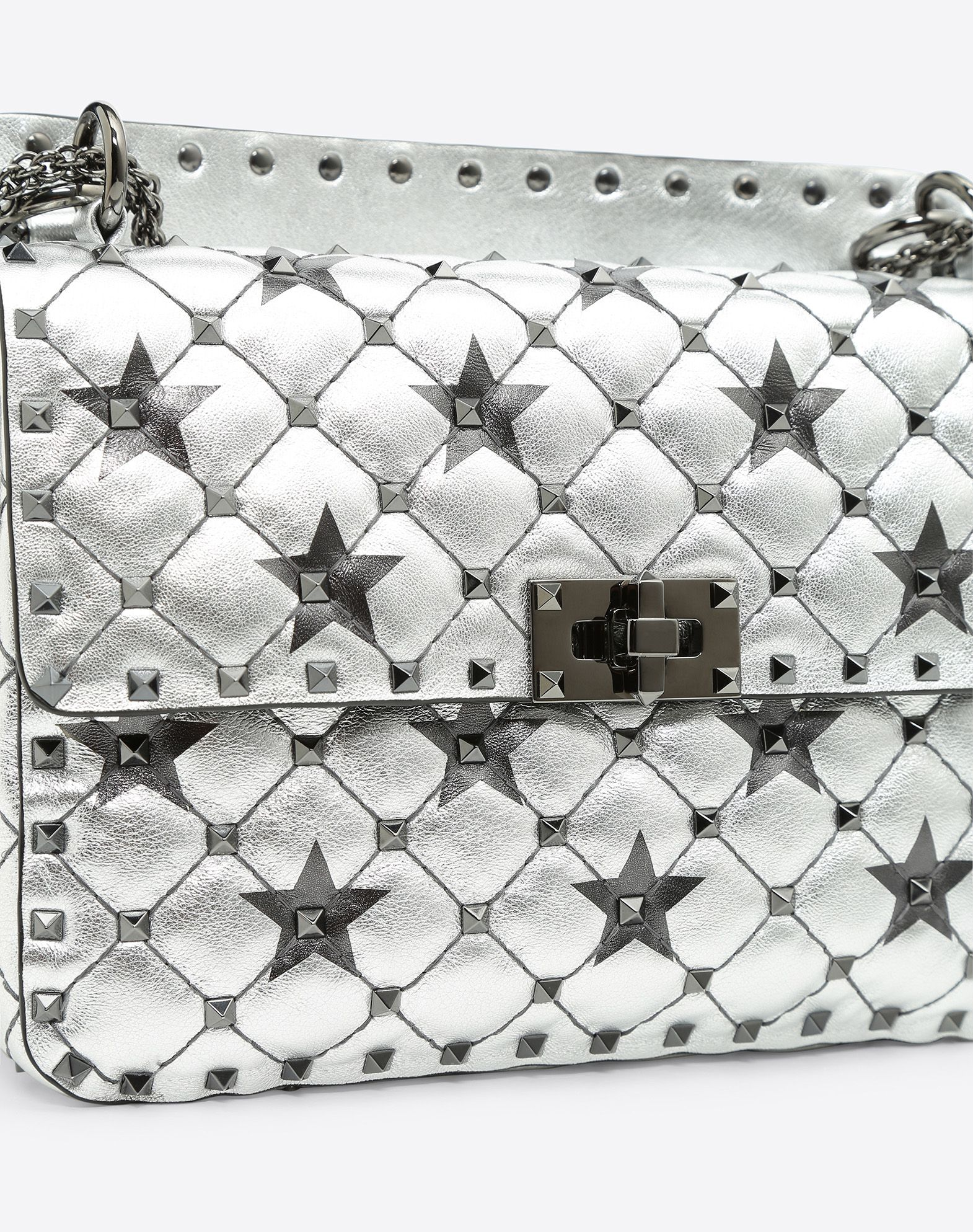 Valentino Garavani The Rockstud Spike Quilted Metallic Patent-leather Wallet - Silver Valentino 7rKkPKYT7