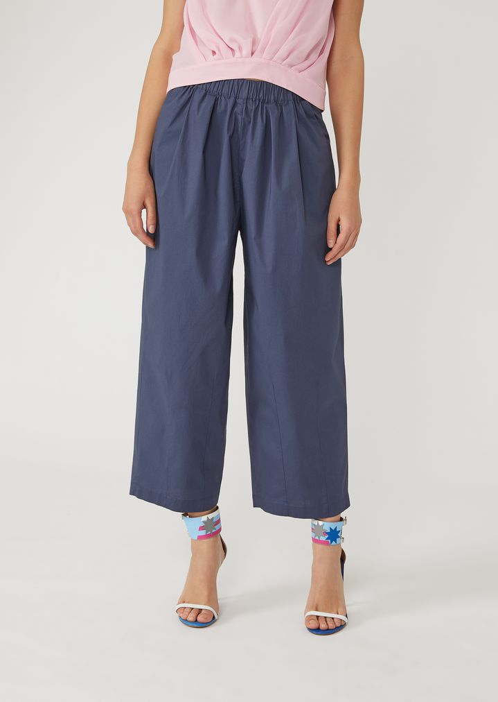 c90f647c71 Technical cotton cropped trousers | Woman | Emporio Armani