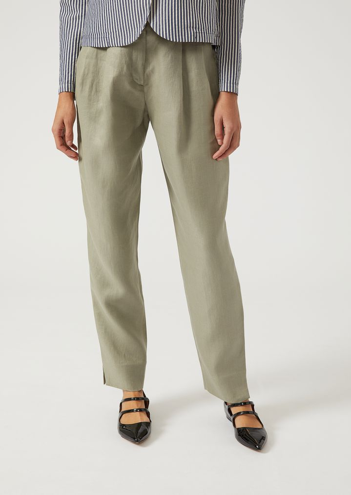 EMPORIO ARMANI Linen trousers with darts Casual Pants Woman f ...