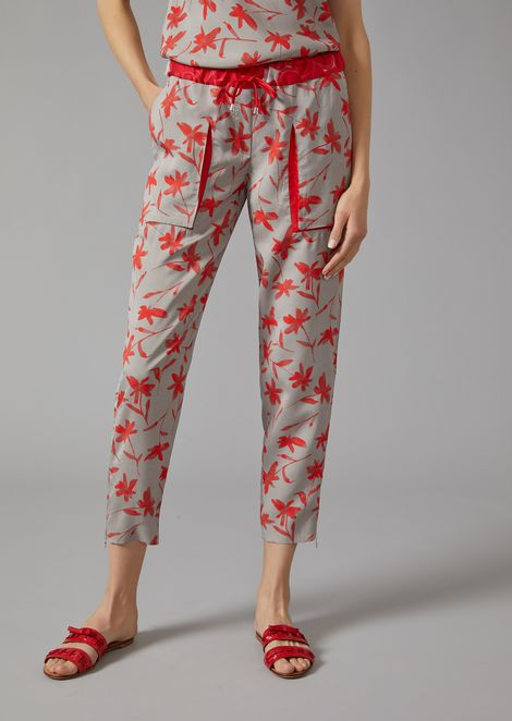 Trousers in floral cold dye canvas