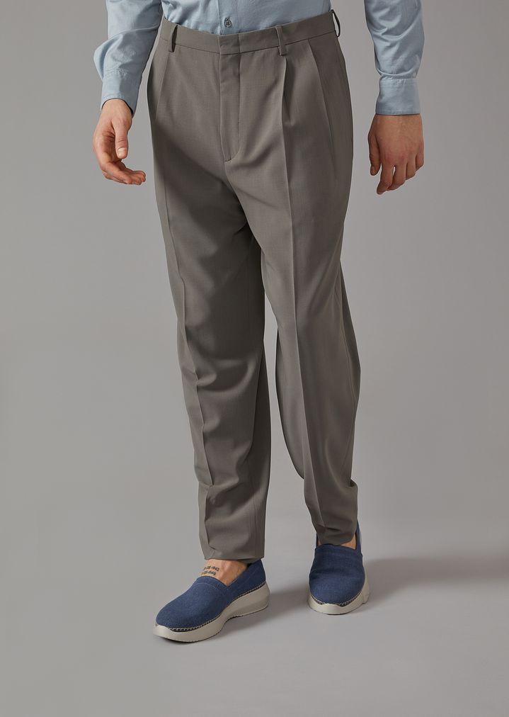 63d4f47e81de Bundfaltenhose aus Comfort Wool   Herren   Giorgio Armani