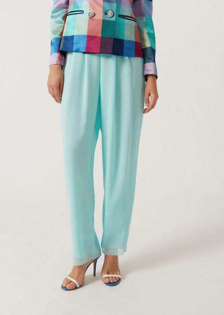 competitive price a76bc 46eb6 Pantaloni con pinces in seta | Donna | Emporio Armani