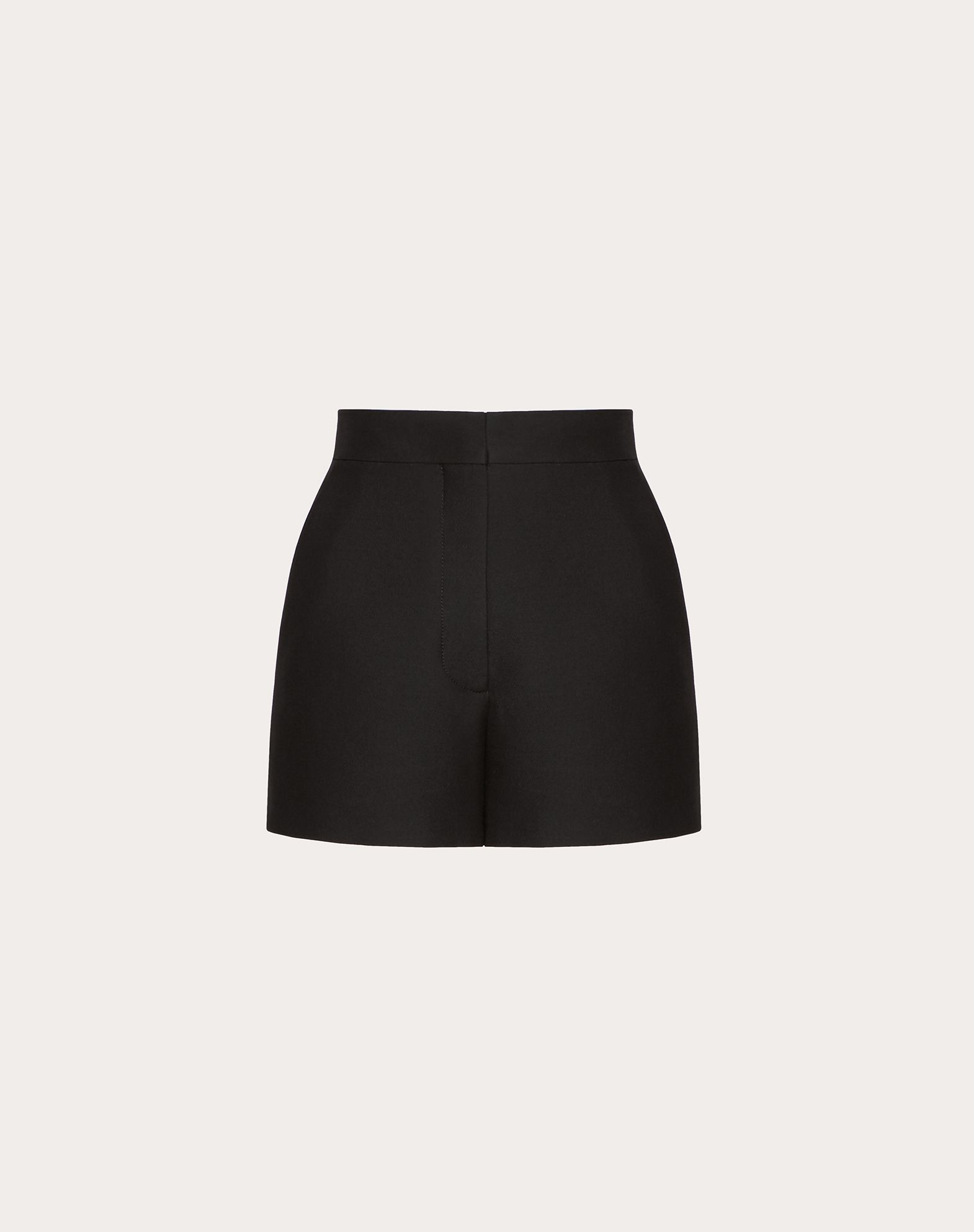 High Waist Wool Silk Crepe Shorts in Black