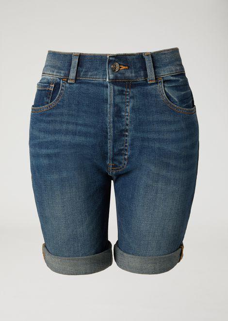 Denim shorts with turn-up hems