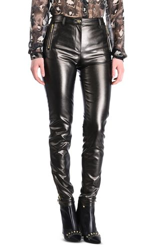 Dark leather-look trousers