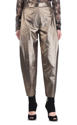 Long lurex-finish trousers