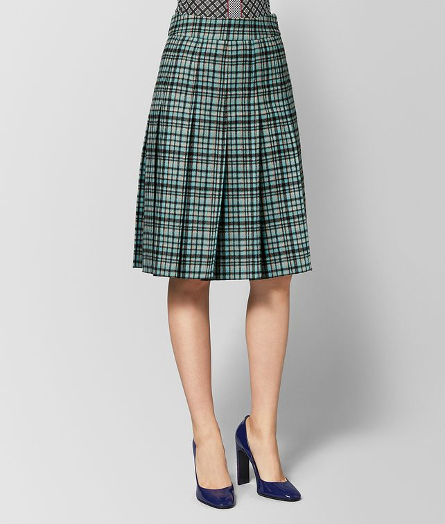BOTTEGA VENETA AQUA/NERO WOOL SKIRT Skirt [*** pickupInStoreShipping_info ***] fp