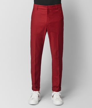 PANTALON EN COTON DARK CHINA RED