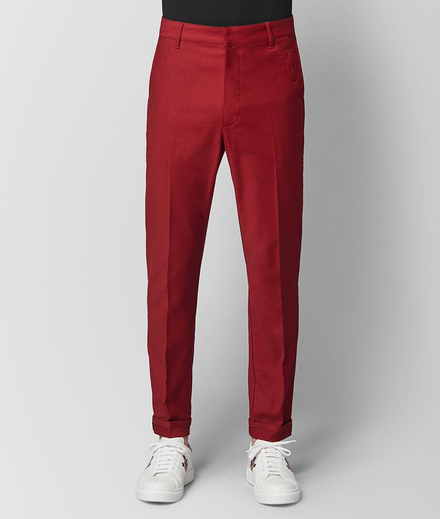 BOTTEGA VENETA DARK CHINA RED COTTON PANT Trousers and Shorts [*** pickupInStoreShippingNotGuaranteed_info ***] fp