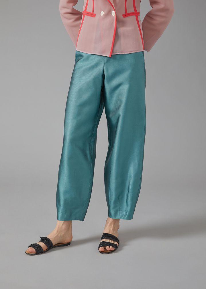 230bd458df Oversized silk ottoman trousers | Woman | Giorgio Armani