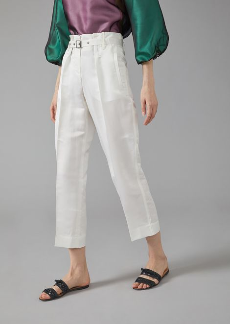 Silk satin trousers with belt
