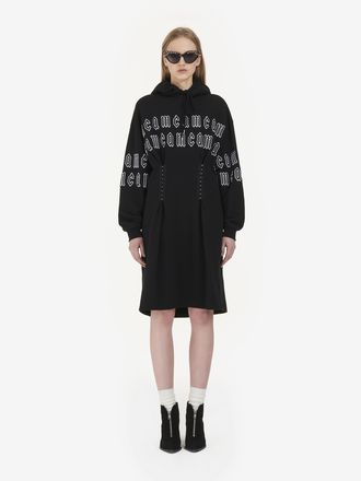 McQ Gothic Repeat Logo Corset Hoodie Dress