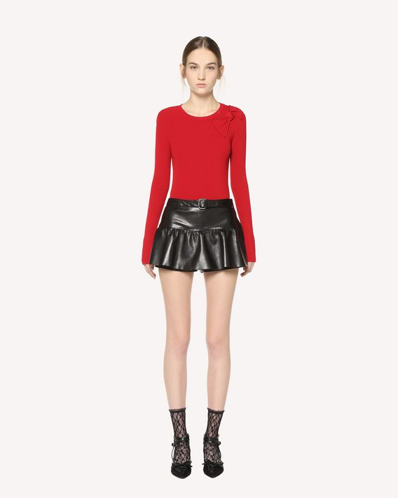 REDValentino Buckle-detail leather shorts