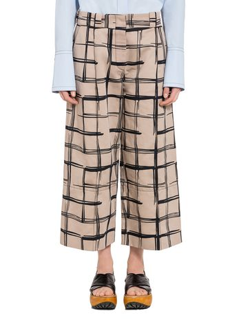 Marni Trousers in drill Tar print Woman
