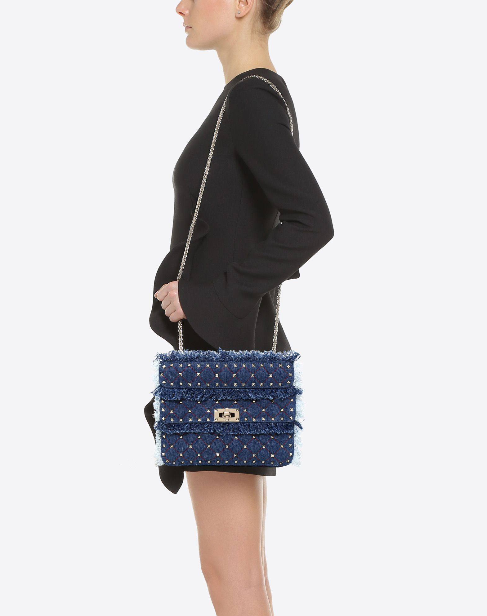 VALENTINO GARAVANI Medium Rockstud Spike Chain Bag Shoulder bag D a