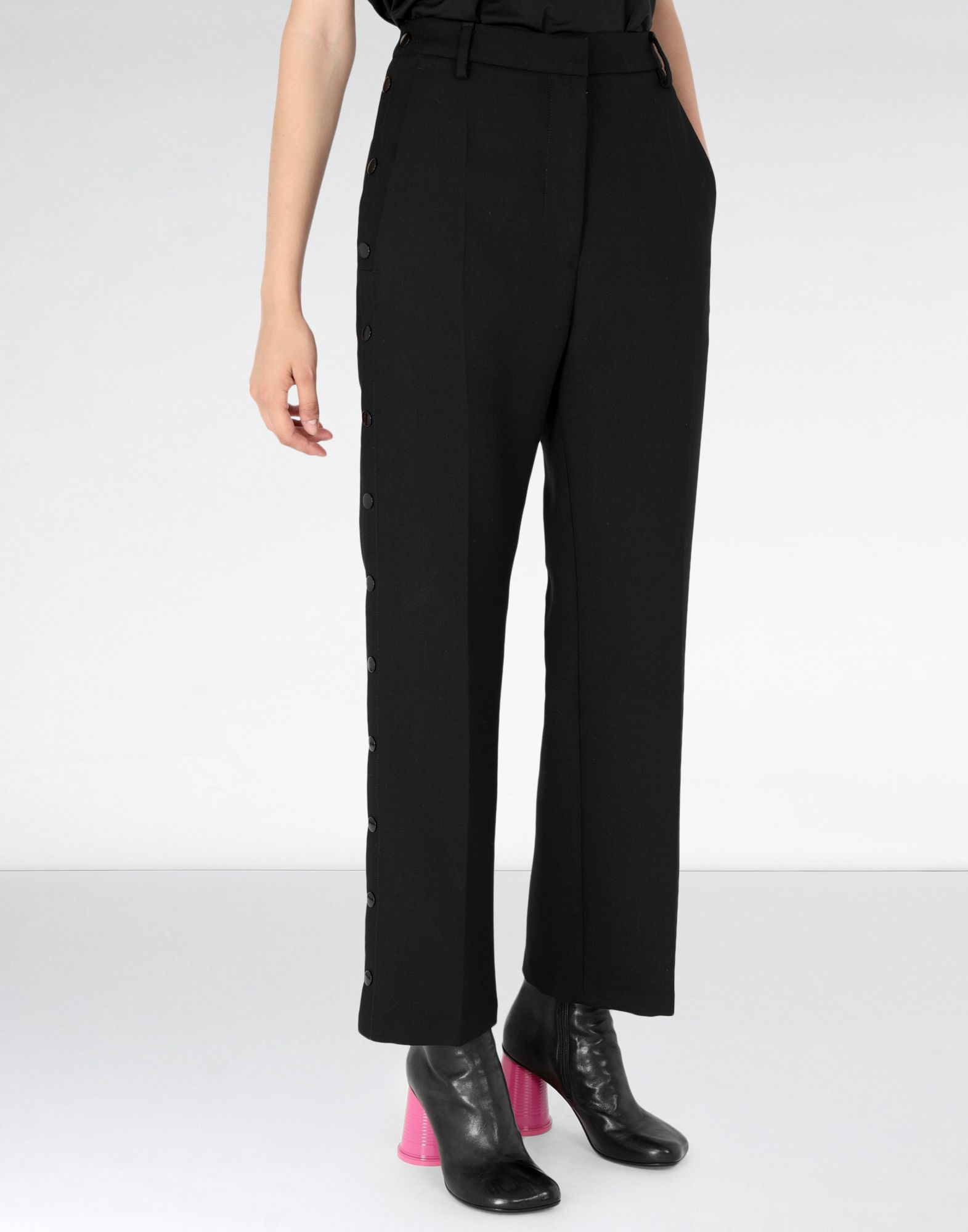 MM6 MAISON MARGIELA High waisted trousers with side buttons Casual pants Woman f