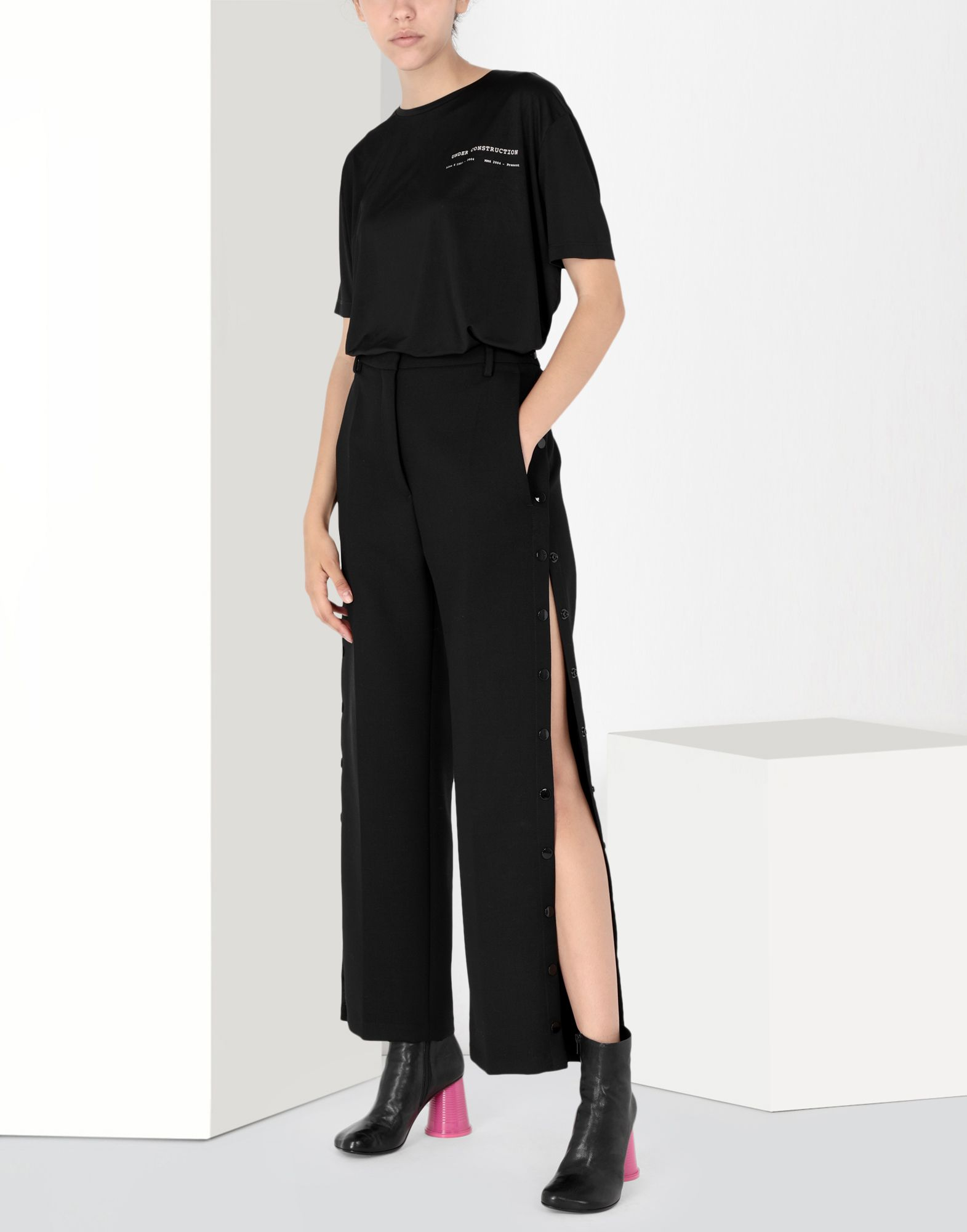 MM6 MAISON MARGIELA High waisted trousers with side buttons Casual pants Woman r