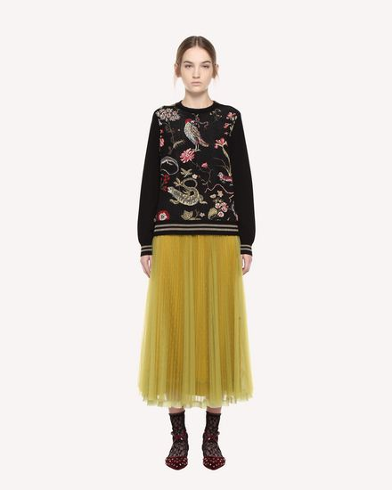 Point d'esprit Tulle pleated skirt