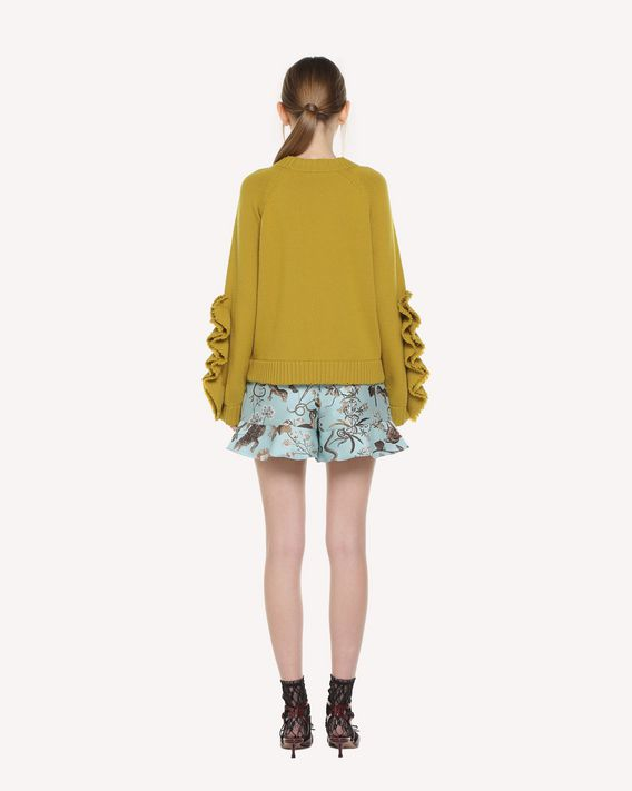 REDValentino Ruffle detailed Flora and Fauna brocade shorts