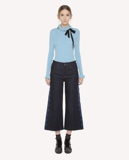 REDValentino Denim trousers with embroidered scallop detail
