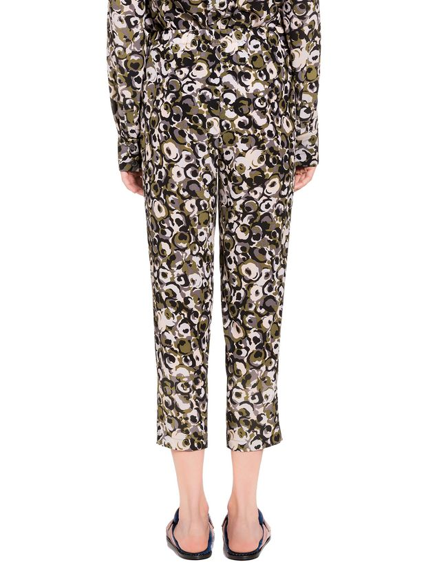Marni Marken print pants in silk crepe  Woman
