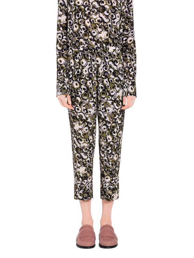 Marni Marken print pants in silk crepe  Woman - 1