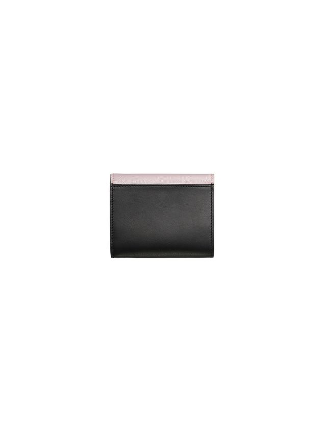 Marni Wallet in black and pink saffiano calfskin Woman - 3