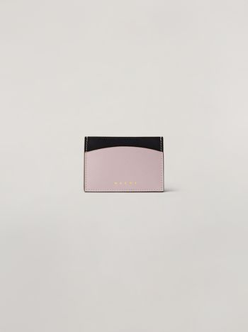 Marni Cardholder in black and pink saffiano calfskin Woman