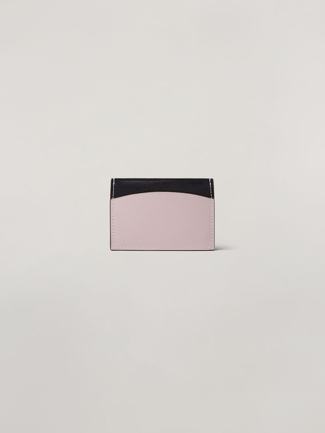 Marni Saffiano calfskin card case black and pink Woman