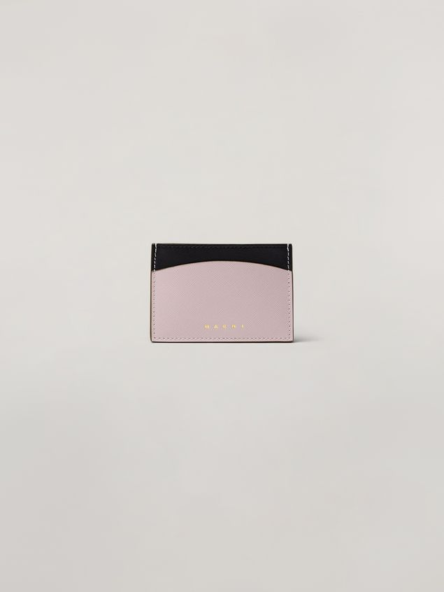 Marni Saffiano calfskin card case black and pink Woman - 1