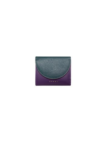 Marni Wallet in black and purple saffiano calfskin Woman