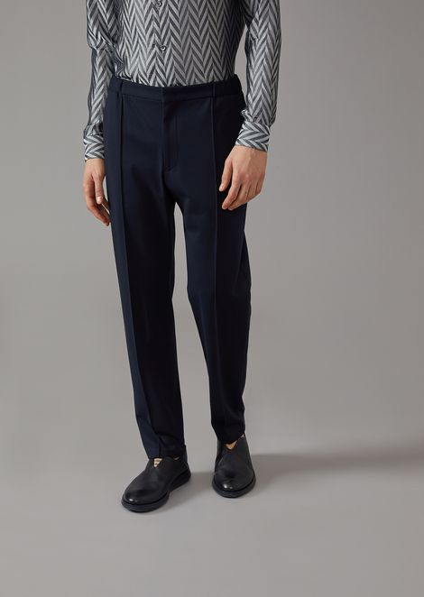 Plain jersey trousers with central rib