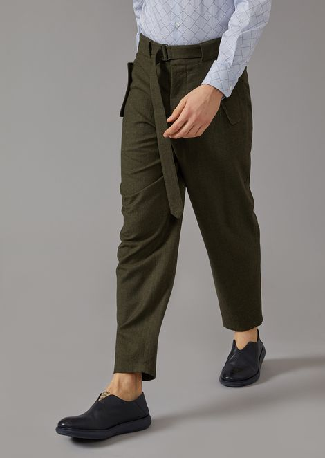 Stretch wool cavalry oversized trousers with belt