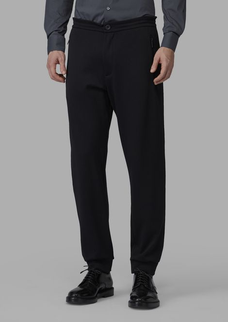 Double jacquard joggers with mesh-effect design